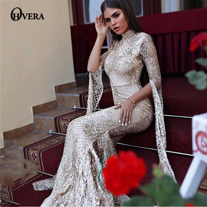 Ohvera Mesh Sequin Bodycon Dress Women Sexy Summer Party Dresses 2018 Turtleneck Flare Sleeve Autumn Long Maxi Dress Elegant-in Dresses from Women's Clothing