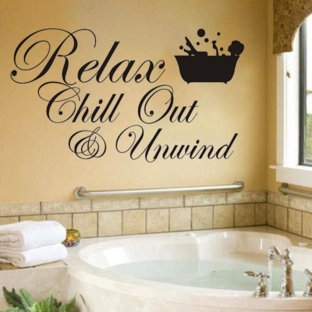 Bathroom Hot English Proverbs Carved Wall Sticker Relax Bathroom ...