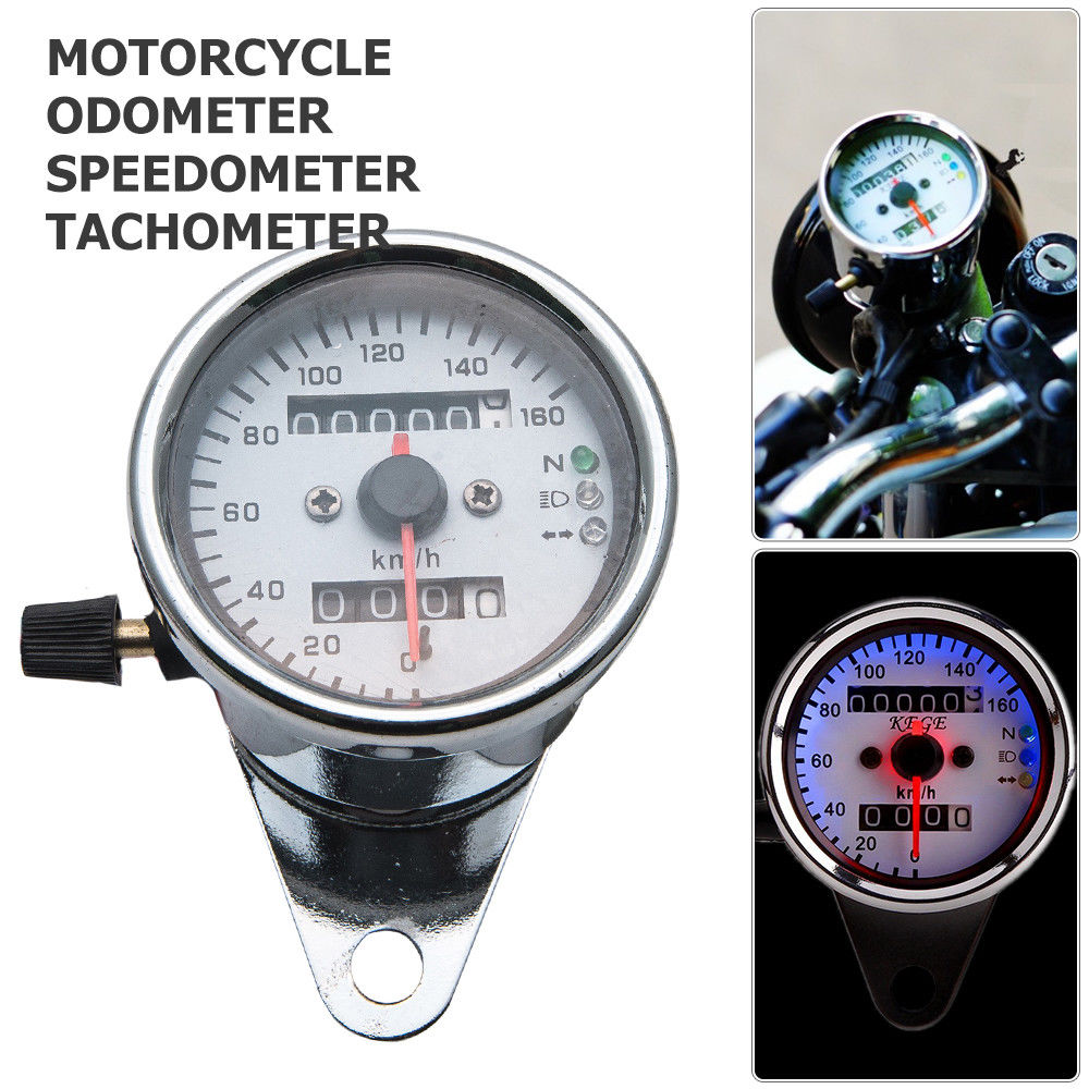 Single Indicator Black Keenso Universal 0-160km//h Odometer Speedometer Gauge 12V Motorcycle LED KMH Odometer Speedometer