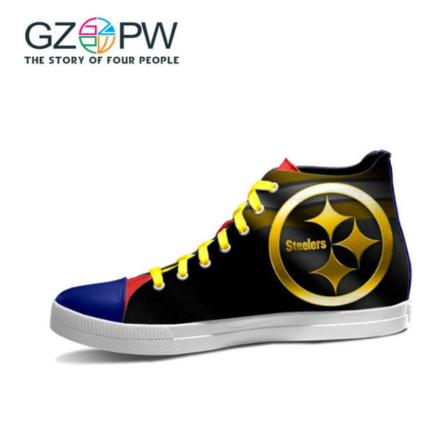 f18d04c55dc7 GZPW New Design Pittsburgh Steelers USA Star NFL Team Football Print Shoes  Black Canvas Shoe Boy Men Fans Walking Shoes