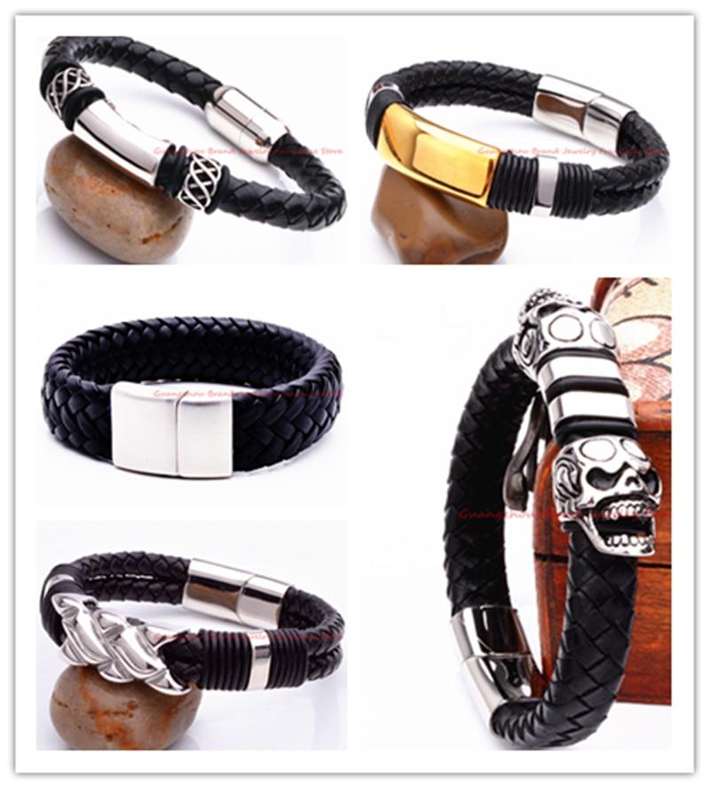 7309034da5e9 Nueva llegada de la manera negro tono Cuero auténtico 316l Acero inoxidable  Braid hombres mujeres encanto pulsera