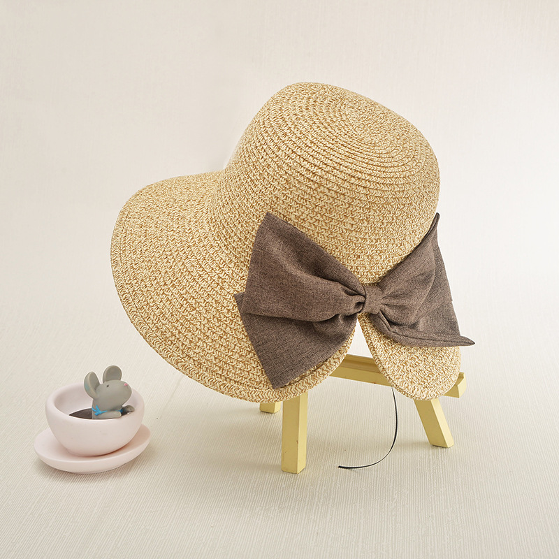 e7fd0f76d20 Women s Sun Hat Big Bow Wide Brim Floppy Summer Beach Hats For Women Panama  Straw Bucket Hats Sun Protection Visor Femme Cap-in Sun Hats from Apparel  ...