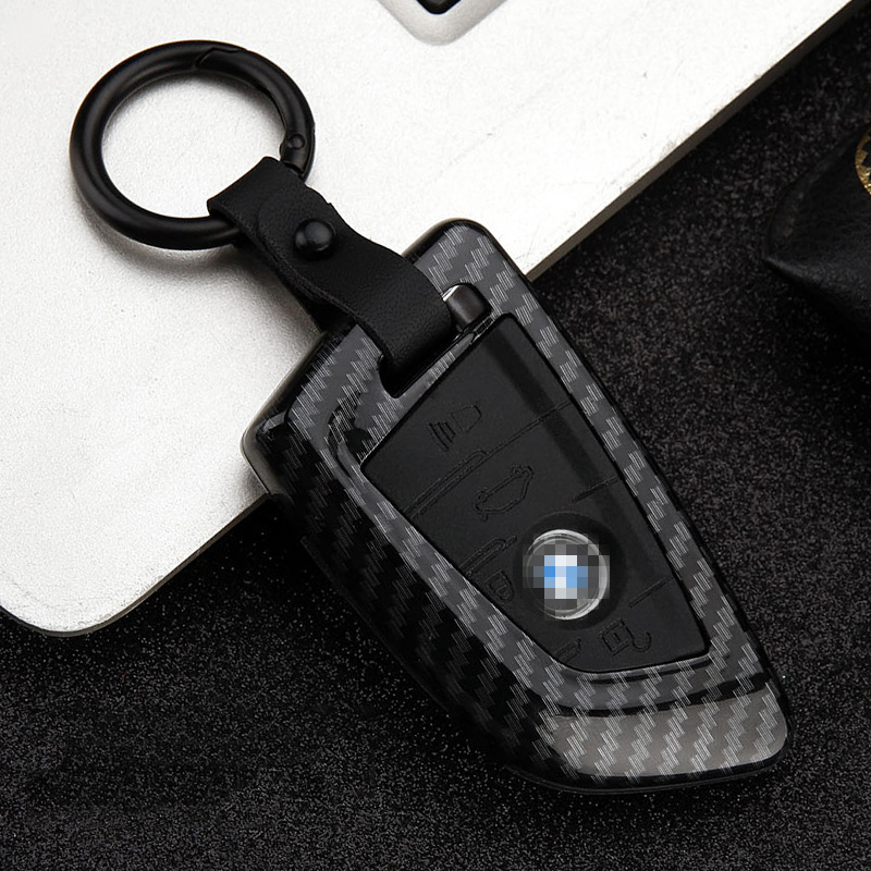 Image 2 - Carbon stripe Matte texture Car Key Cover Case For BMW X5 F15 X6 F16 G30 7 Series G11 X1 F48 F39 Keychain Car shell Car stying-in Key Case for Car from Automobiles & Motorcycles