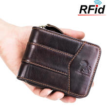 LAOSHIZI LUOSEN Vintage RFID Antimagnetic Genuine Cow Leather purse 13 Card Slots Coin Bag Trifold brand Wallet For Men