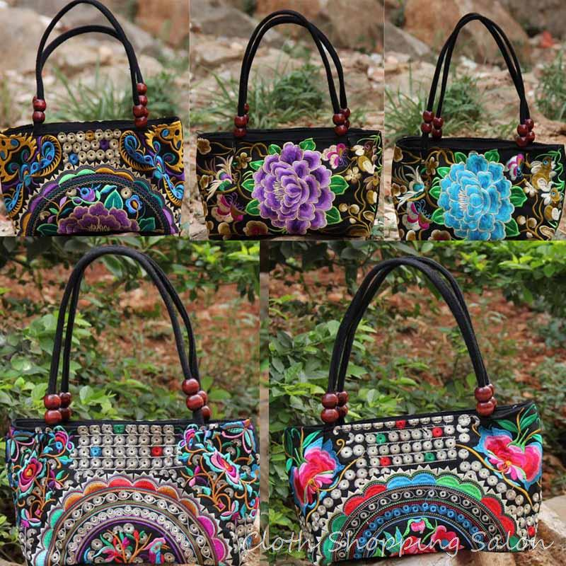 Chinese Ethnic Style Embroidery Bags Handmade Cloth Double Faced Embroidered Canvas Beads Shoulder Bag Women's Small Handbag 100 super cute little embroidery chinese embroidery handmade art design book