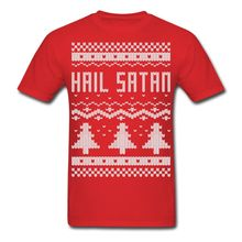Ugly Hail Satan Christmas Sweater Men's T-Shirt Hip-Hop Simple Splicing Tee Tops Shirt Sleeve T Shirt Summer Men  Clothing