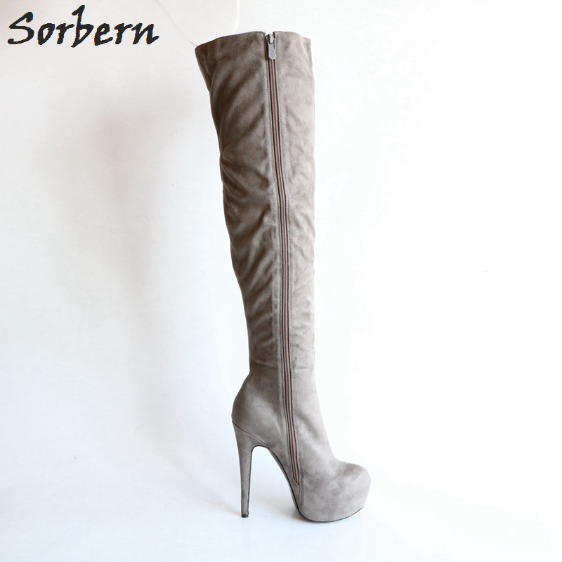 a1d17eeccc5 Sorbern Fashion Knee High Boots Grey Women High Heel Winter Shoes Women Eu  Size 34 To 46 Custom Wide Calf Fit Heeled Boots New