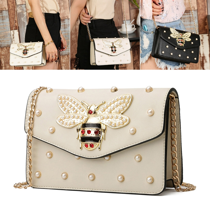 Image 4 - THINKTHENDO Fashion Lady Women Bee Rivets Bag Messenger Crossbody Shoulder Bag Handbags New Hot Large Capacity-in Shoulder Bags from Luggage & Bags