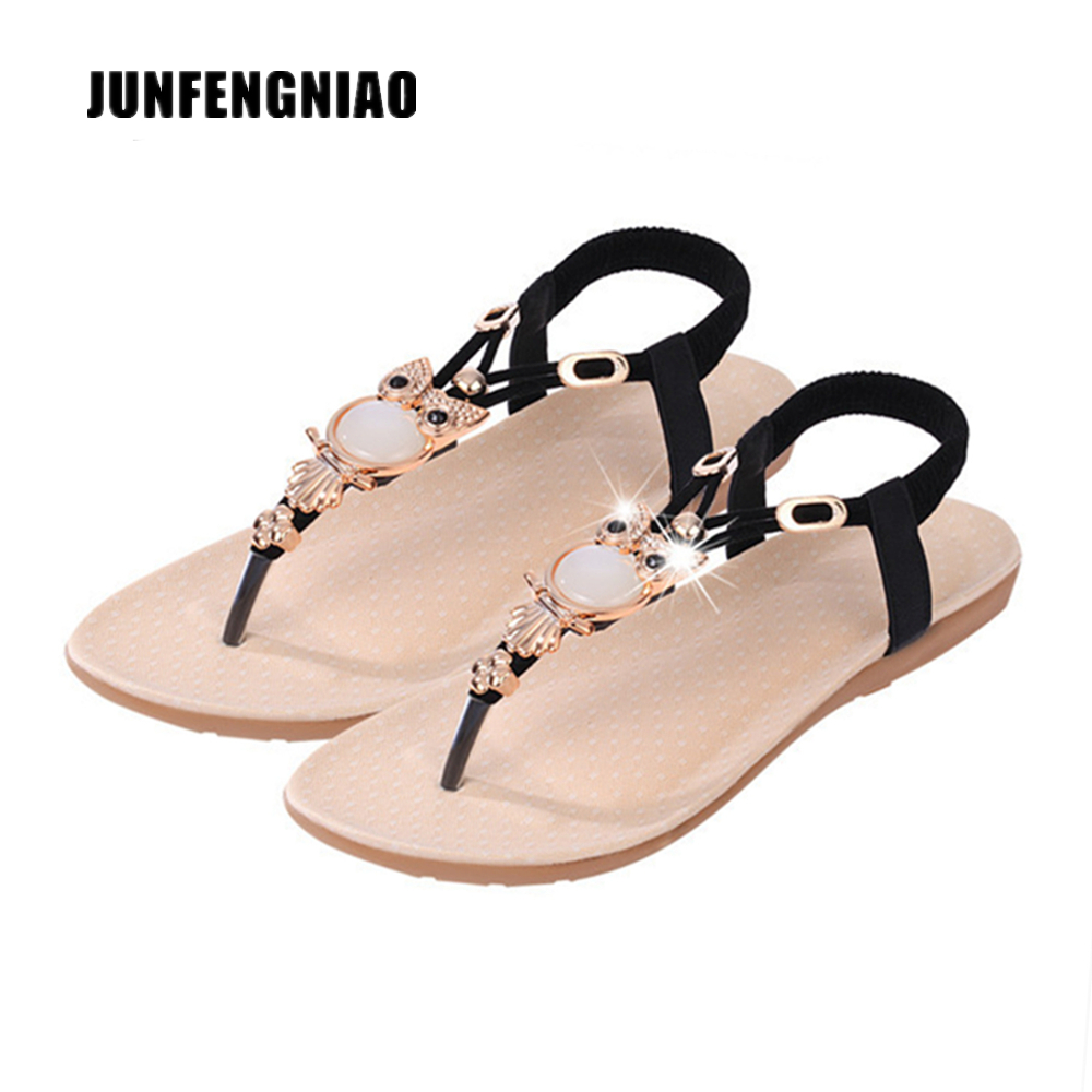 JUNFENGNIAO Plus Size Shoes 36-42 Women Sandals Flats Flip Flops Beach Summer Slip On Cool Superstar Pearl Korean Casual YH-199 covoyyar 2018 fringe women sandals vintage tassel lady flip flops summer back zip flat women shoes plus size 40 wss765