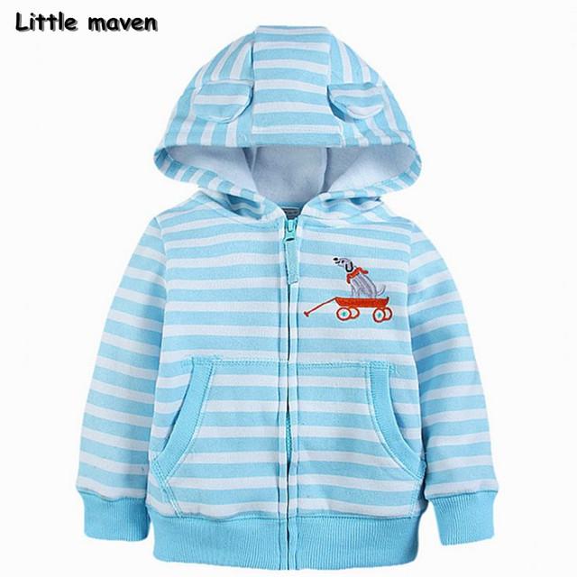 Little maven 2017 primavera meninos roupas de marca crianças de algodão listrado hoodies & camisolas wy067