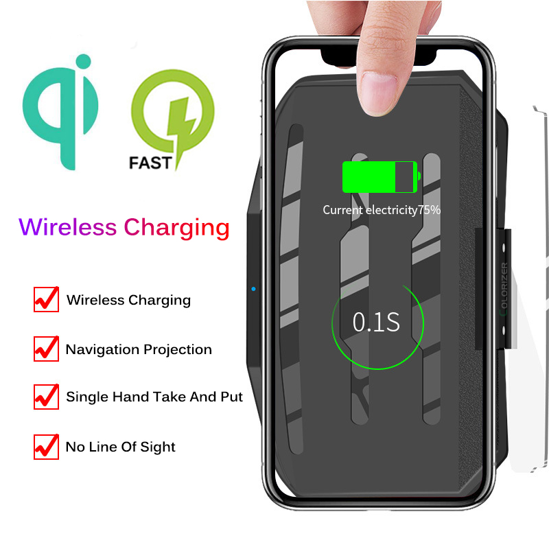 Image 3 - Wireless Charger For Smart Phone Universal Car Mirror Holder Windscreen Projector HUD Head Up Display GPS Navigation HUD Bracket-in Mobile Phone Chargers from Cellphones & Telecommunications