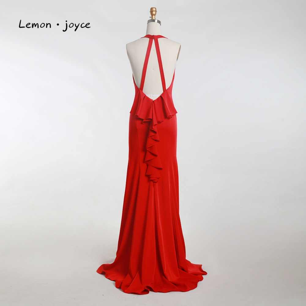... Lemon joyce Red Elegant Evening Dresses Long 2019 Sexy V-neck Backless  Prom Party Gowns ... 841260ed93d9