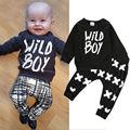 Newborn Baby Boys Outfit Set Wild Boy Tops Letters T-shirt Long Pants Leggings Baby Boys Cotton Clothes Set Boys Outfit Set0-24M