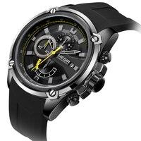 Luxury Brand MEGIR New Fashion Big Dila Watch Men Black Silicone Band Date Quartz Military Sport Watch Wristwatch Mens relogios