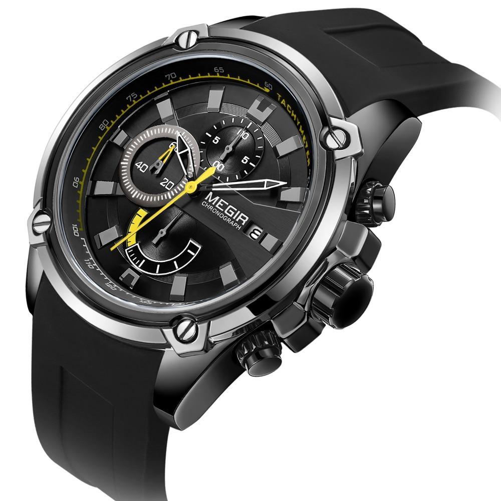 843142211f81 Marca de lujo reloj MEGIR de nueva moda de gran Dila reloj banda de  silicona negro fecha cuarzo Deporte Militar reloj para hombre