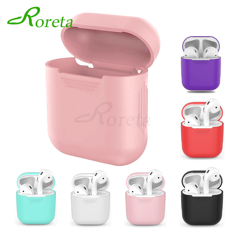 Roreta Silicone Earphone Protective Cover For AirPods TPU Headset Accessories Soft Cover For Apple Airpods Charging Box