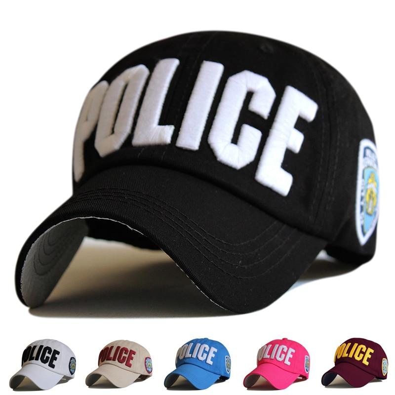 2017 Hot Broderi Brev Polis Baseball Cap Snapback Caps Casquette Mössor Tillbehör Casual Gorras Pappa Mössor För Män Kvinnor Unisex