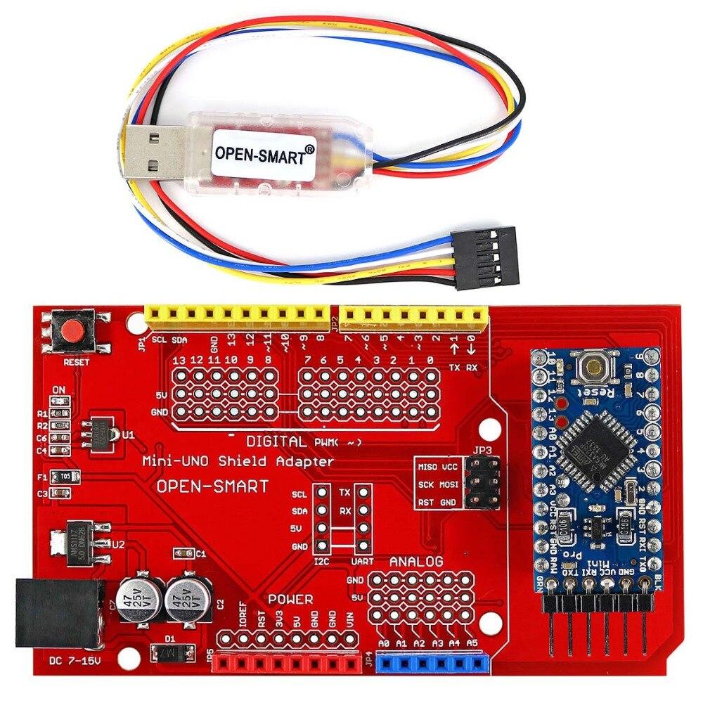 Pro Mini ATmega328P Conseil + Pro Mini UNO Bouclier Adaptateur + CH340G USB à TTL Programmeur facile à télécharger croquis à Arduino Pro Mini