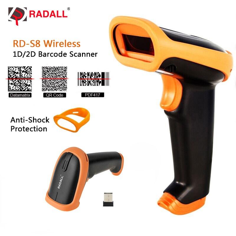 RADALL 1D Handheld Scanner de código de barras Scanner de código de Barras Sem Fio Com Fio/2D QR Bar CODE Reader para POS Terminal de Inventário