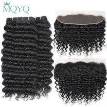 MQYQ Малайзии глубокая волна натуральные волосы 2/3/4 пачки с уха до уха Закрытие 13×4 Кружева Фронтальная Закрытие с пучками не Волосы remy