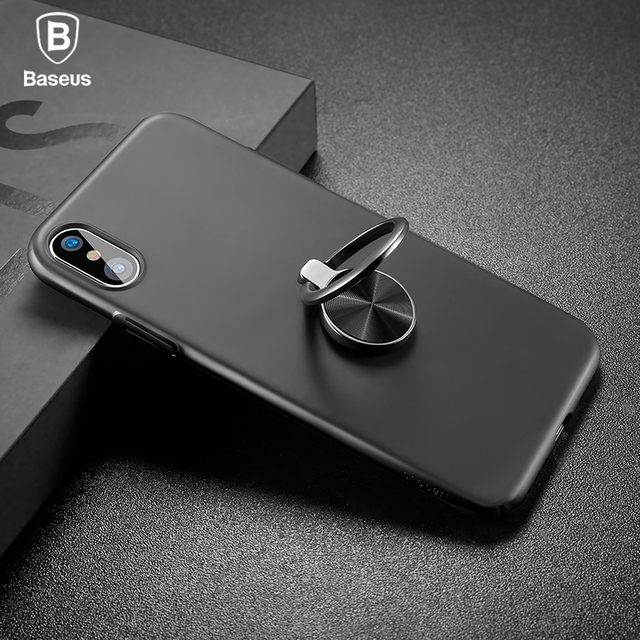 the latest cea27 6aa1f Aliexpress.com : Buy Baseus Ring holder Case For iPhone X case luxury  Kickstand Support magnetic Adsorption Case For iPhone X Cover Hard PC Cases  from ...