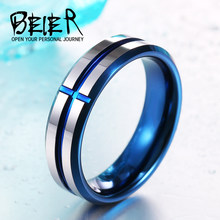 BEIER New 2017 Royal Men's Fashion Cross dull polish Ring 100% Tungsten High Quality Jewelry Wedding ring BR-W049(China)
