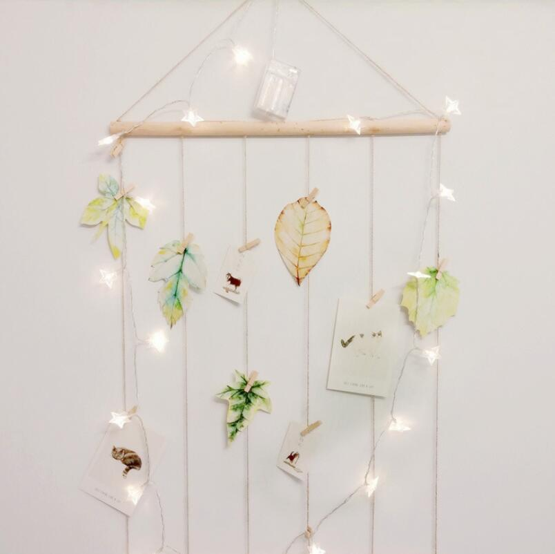 Image 2 - Nordic Style Simple Creative Linen Picture Wall With Clips Nails Postcards Pictured Hanging Room Decoration No String Lights DIY-in Wind Chimes & Hanging Decorations from Home & Garden