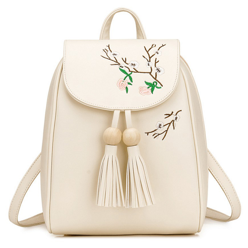 Embroidery PU Leather Backpack Women Large Capacity Anti Theft Backpack Girl Preppy Style School Bag Fashion Travel Backpacks