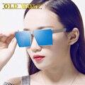 2017 Moda luxo praça plana óculos de sol das mulheres designer de marca celebridade de metal Unisex dos homens de grandes dimensões óculos de sol UV400 LEGAL Senhora
