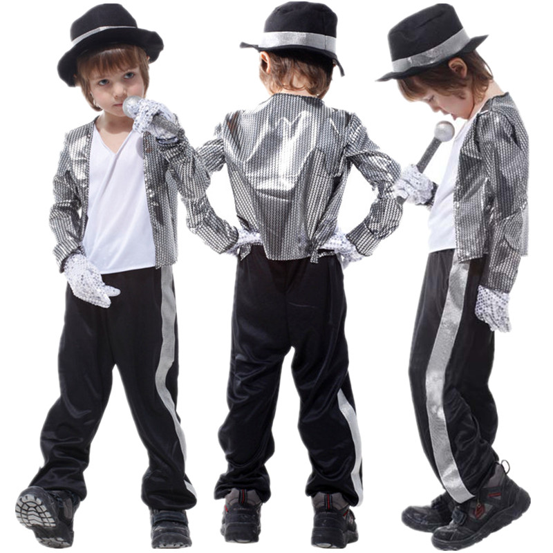 Gratis frakt Kids Michael Jackson Kostym Halloween Masquerade Party Boys Fancy Dress Barn Cosplay Kläder