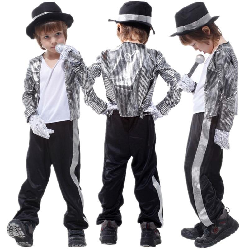 משלוח חינם לילדים מייקל ג 'קסון תחפושות ליל כל הקדושים מסיבת מסיבת בנים מפוארת שמלה ילדים תלבושות בגדים