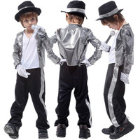 Kids Michael Jackson Costume Halloween Masquerade Party Shuffle Dance Ghost Step Boys Fancy Dress Children Cosplay Clothes