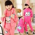 2017 Winter Kid girls kitty cartoon three-piece set children add cashmere sweater clothing suit