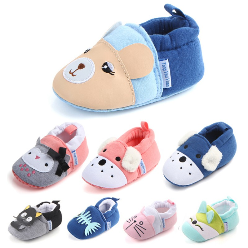 Cute Newborn Baby Shoes Infant Boys Girls Soft Cotton Anti-Slip Moccasins Toddler Cartoon First Walkers For 3-11M