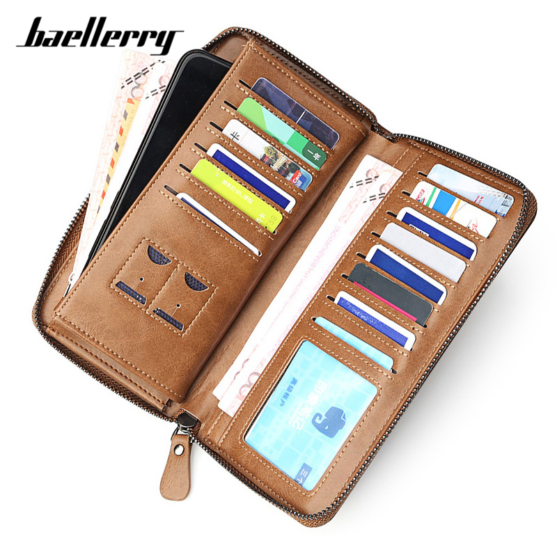 Baellerry Larger Capacity Men Wallet Card Holder Cell Phone Pocket Male Wallets Synthetic Leather Clutch Purse Men's Carteira
