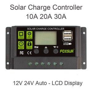 Image 1 - FOXSUR Năng Lượng Mặt Trời Charge Controller 12 V 24 V Auto LCD Hiển Thị với kép USB 5 V Đầu Ra 30A 20A 10A PWM Solar Charger điều chỉnh
