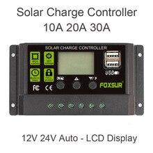 FOXSUR Controlador de Carga Solar 12 V 24 V Auto Display LCD com Dual USB 5 V Saída 30A 20A 10A PWM Carregador Solar regulador