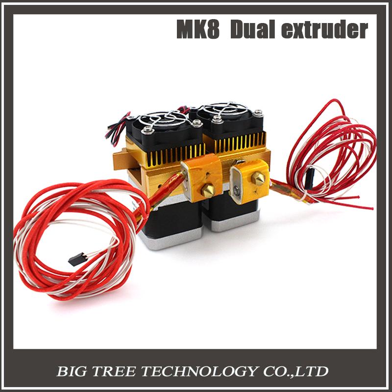 Prix pour 2016 Date Mk8 12 v Double Tête Buse Extrudeuse Double Tête D'impression Pour Makerbot Structure 3D Imprimante Avec 1.75mm métal fournitures