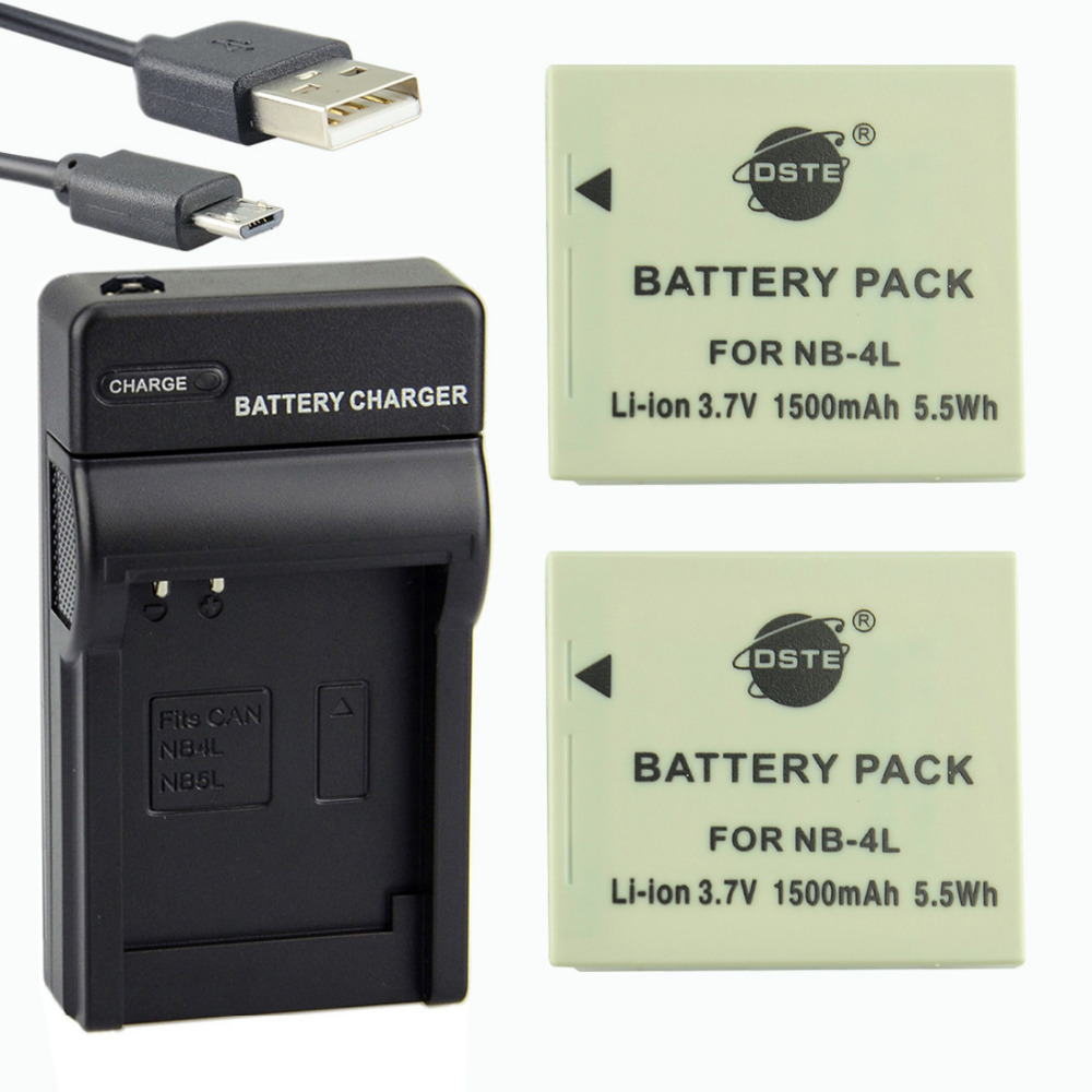 DSTE 2PCS NB-4L Li-ion Battery + UDC22 USB Port Charger for Canon IXUS 40 30 50 55 60 65 70 75 80 90 i5 i7 SD400 110 IS 100 IS