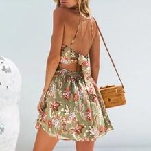 цена на Bohemian floral print women dress Elastic high waist sexy summer dress Elegant backless bow tie chiffon mini dress 2019