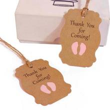 50pcs Thank you for coming Kraft Paper Tag boy Baby Shower Gift tags Packaging girl birthday Party Decor Kid DIY candy box Label