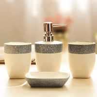 bathroom accessories 4 piece set Simple ceramic toiletry kit bathroom Mouth cup Toothbrush cup soap box Shampoo Storage Bottle