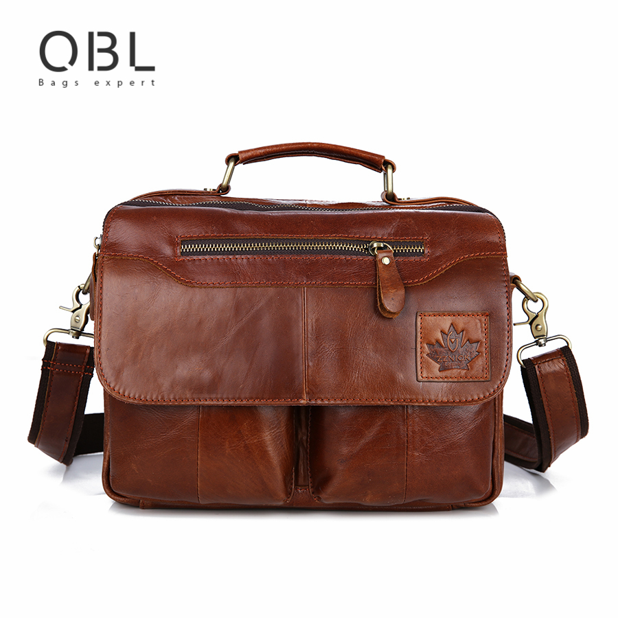 Bolsa Estilo Satchel : Qibolu cow genuine leather handbag men messenger