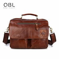 QiBoLu 2017 Cow Genuine Leather Handbag Men Messenger Shoulder Crossbody Bag Sacoche Homme Bolsa Masculina Bolso