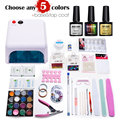 Nail Art Pro DIY Full Set Soak Off Uv Gel Polish Manicure set 36W Curing Lamp Kit any 5 colors&base top Set nail gel nail tools