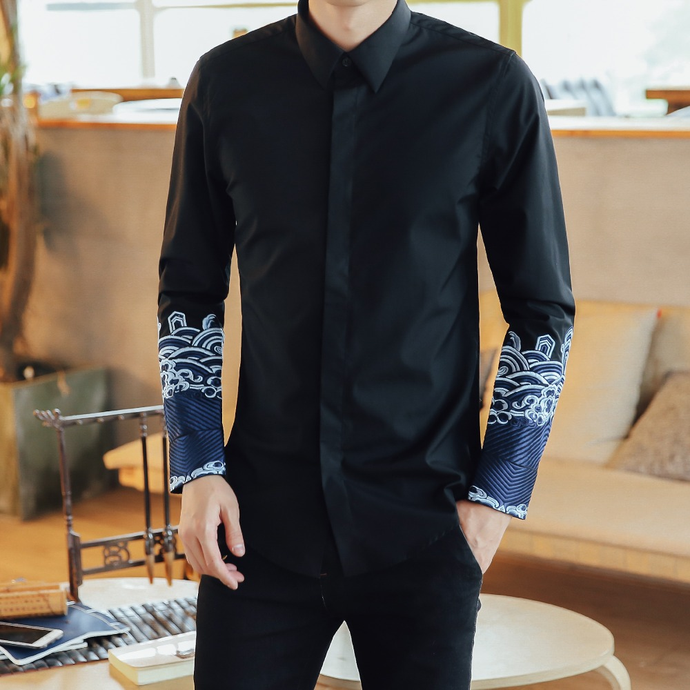 Men Long Sleeve Shirt Black And White Turn Down Collar Dress Shirts