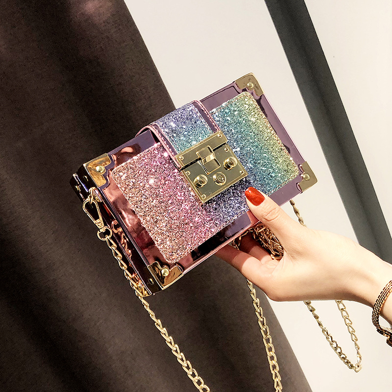 SENDEFN New Style Fashion Glitter Sequins Small Box Bag PU Leather Combined Chain Purses Versatile Luxury Crossbody Bags