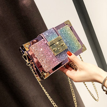 SENDEFN New style fashion glitter sequins small box bag PU Leather Combined Chai