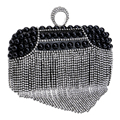 Finger ring diamonds women evening bags mini day clutches tassel crystal evening bag imitation pearl lady messenger bags