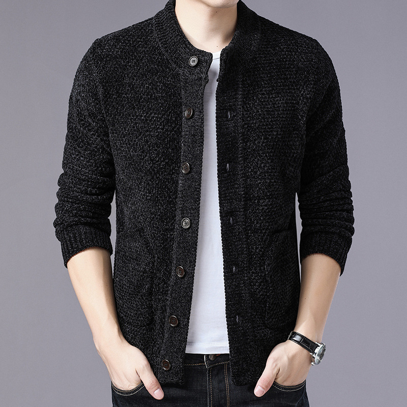 Young Men Of New Fund Of 2019 Autumn Stretch Cultivate One's Morality Sweater Knitting Cardigan Sweater Collar Buttons